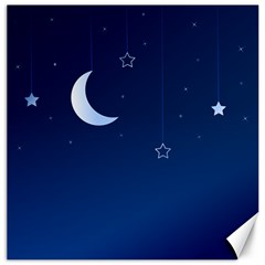 Night Moon Star Background Canvas 20  X 20