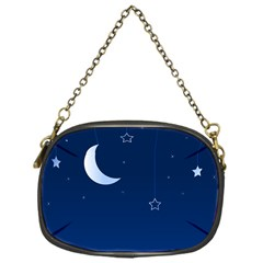 Night Moon Star Background Chain Purse (one Side)