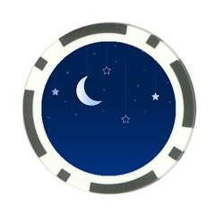 Night Moon Star Background Poker Chip Card Guard (10 Pack)