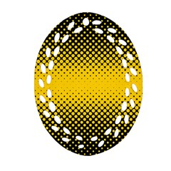 Dot Halftone Pattern Vector Ornament (oval Filigree)