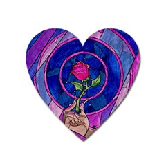 Enchanted Rose Stained Glass Heart Magnet by Sudhe