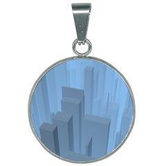 City Contemporary Modern Futuristic 25mm Round Necklace by Pakrebo