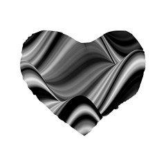 Waves Black And White Modern Standard 16  Premium Flano Heart Shape Cushions
