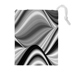 Waves Black And White Modern Drawstring Pouch (xl)