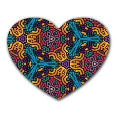 Grubby Colors Kaleidoscope Pattern Heart Mousepads