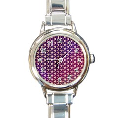 Texture Background Pattern Round Italian Charm Watch