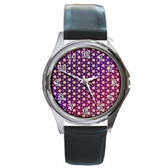 Texture Background Pattern Round Metal Watch