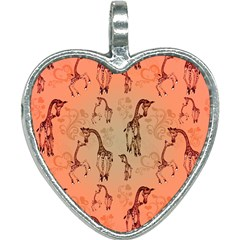 Cute Giraffe Pattern Heart Necklace