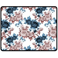 Rose And Blue Drawing Flowers Fleece Blanket (medium)  by goljakoff