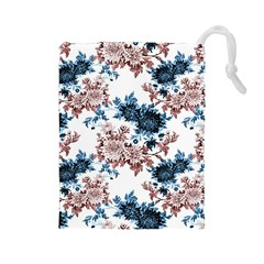 Rose And Blue Drawing Flowers Drawstring Pouch (large)