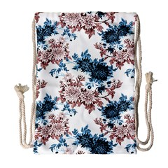 Rose And Blue Drawing Flowers Drawstring Bag (large)