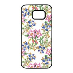 Watercolor Flowers Pattern Samsung Galaxy S7 Edge Black Seamless Case by goljakoff