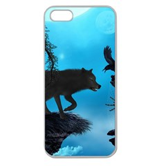 Awesome Black Wolf With Crow And Spider Apple Seamless Iphone 5 Case (clear)