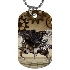 Awesome Steampunk Unicorn With Wings Dog Tag (one Side) by FantasyWorld7