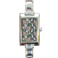 Vintage flowers and birds pattern Rectangle Italian Charm Watch