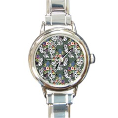 Vintage flowers and birds pattern Round Italian Charm Watch