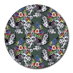 Vintage flowers and birds pattern Round Mousepads