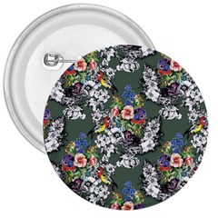 Vintage flowers and birds pattern 3  Buttons