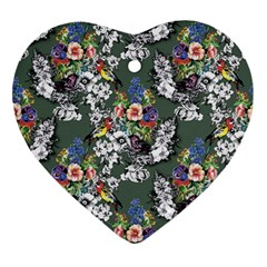 Vintage flowers and birds pattern Ornament (Heart)