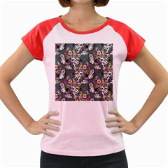 Vintage flowers and birds pattern Women s Cap Sleeve T-Shirt
