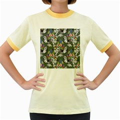 Vintage flowers and birds pattern Women s Fitted Ringer T-Shirt