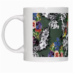 Vintage flowers and birds pattern White Mugs