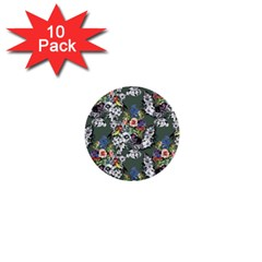 Vintage flowers and birds pattern 1  Mini Buttons (10 pack)