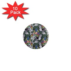 Vintage flowers and birds pattern 1  Mini Magnet (10 pack)
