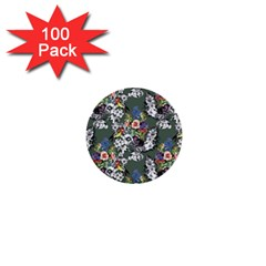 Vintage flowers and birds pattern 1  Mini Buttons (100 pack)