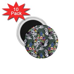 Vintage flowers and birds pattern 1.75  Magnets (10 pack)