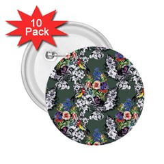 Vintage flowers and birds pattern 2.25  Buttons (10 pack)