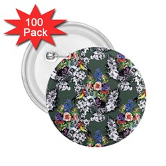 Vintage flowers and birds pattern 2.25  Buttons (100 pack)