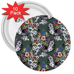 Vintage flowers and birds pattern 3  Buttons (10 pack)