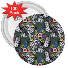 Vintage flowers and birds pattern 3  Buttons (100 pack)