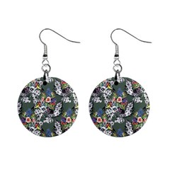 Vintage flowers and birds pattern Mini Button Earrings