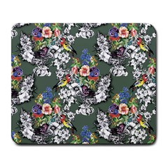 Vintage flowers and birds pattern Large Mousepads