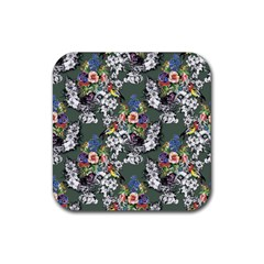 Vintage flowers and birds pattern Rubber Square Coaster (4 pack)