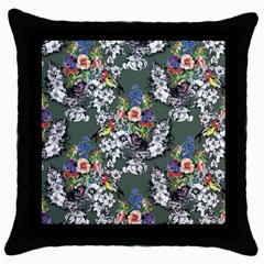 Vintage flowers and birds pattern Throw Pillow Case (Black)
