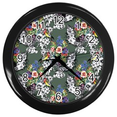 Vintage flowers and birds pattern Wall Clock (Black)