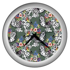 Vintage flowers and birds pattern Wall Clock (Silver)