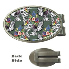 Vintage flowers and birds pattern Money Clips (Oval)