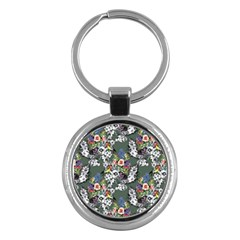 Vintage flowers and birds pattern Key Chains (Round)