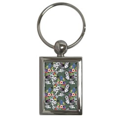 Vintage flowers and birds pattern Key Chains (Rectangle)