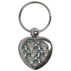 Vintage flowers and birds pattern Key Chains (Heart)