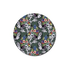 Vintage flowers and birds pattern Rubber Round Coaster (4 pack)