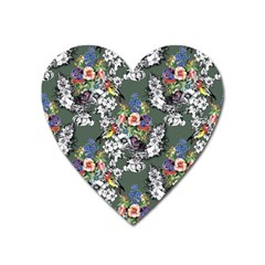 Vintage flowers and birds pattern Heart Magnet