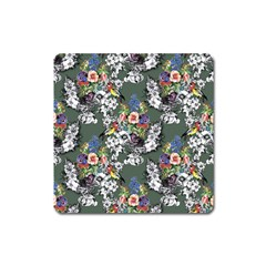 Vintage flowers and birds pattern Square Magnet