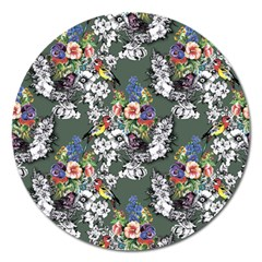 Vintage flowers and birds pattern Magnet 5  (Round)