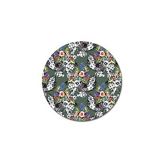 Vintage flowers and birds pattern Golf Ball Marker