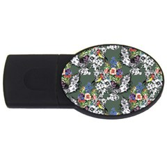 Vintage flowers and birds pattern USB Flash Drive Oval (2 GB)